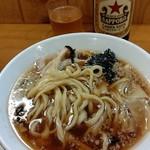中華そば ムタヒロ - ●煮干そば 醤油(並盛 750円)+中瓶ビール500円=1,250円 2019年08月