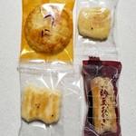 野方 金時煎餅 - うにせん、ごぼうおかき、スイートコーン、納豆おかき