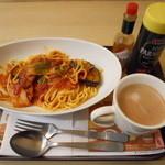 ファーストキッチン   - 茄子とベーコンのトマトソースパスタセット