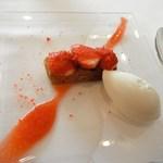 イルバンビーノ - 苺とノッチョーラ 練乳のジェラート添え
