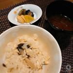 御料理 きたかど - キノコの炊き込み御飯と赤出汁・オツケモノ