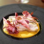 オステリア イタリアーナ コバ - 太刀魚と椎茸のテリーヌ バターナッツカボチャのヴルーテ