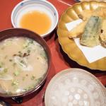 こんぴら丸 - アサリの貝汁と天ぷら