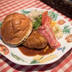 アリスカフェ - ウィークエンドランチ ハンバーグとベーコンのコース 1680円