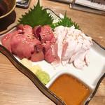 Aburishimizu - 【鳥刺し二種盛り(ささみ/れば) ¥980】