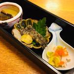 116102107 - 前菜  冬瓜と秋刀魚有馬煮  メヒカリと和栗  銀杏と烏賊の和えもの