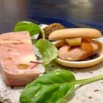 KUFUKU± - 酒粕のレバーペーストと紫芋のムース最中 里芋と西京フォアグラのパテドカンパーニュ