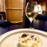 KUFUKU± - ハマグリのグラチネ 発酵たまごのモルネーソースとかんずり葱