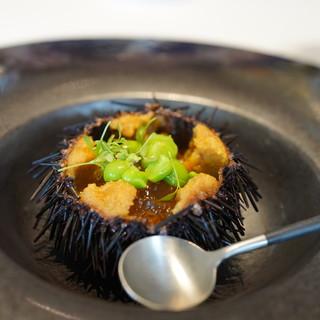 Hagiフランス料理店 - 料理写真:福島のグリーンピースと雲丹