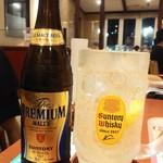 デニーズ - メガ角ハイボール599円をプレミアムモルツ中瓶と対比