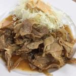 東京大学 中央食堂 - 豚の生姜焼きは焼いて置いてあるのか皿に盛るだけです