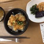 東京大学 中央食堂 - 料理写真:ワイフの朝ごはん チキン竜田丼にお惣菜と御御御付け