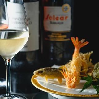 [常に新しい食し方をご提案]揚げたて天ぷらをワインできりりと