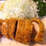 とんQ - ヒレカツ定食 ¥1,950  初めてのヒレ。火が通り過ぎてバサツキも。相変わらず衣がポロポロ剥がれます。んー。古漬けのお新香はタイプでした。