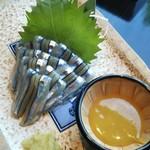 116229855 - キビナゴの刺身 酢味噌と 生姜醤油で