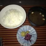 眺河 先斗町~華~ - ご飯、味噌汁、お新香