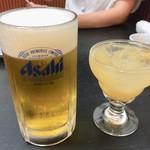 わくい亭 - 生ビール 650円 生もも酒 500円