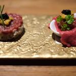 焼肉 うしみつ - ユッケ3種盛り〜極み・うしみつユッケ、ユッケーキ、金の缶詰め〜