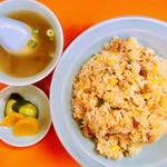 宝来軒 - 宝来セット・焼きめし、スープ、漬物