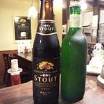 伊太めし?こるて - ラッパ飲みで美味しい小瓶のビール黒とハートランド