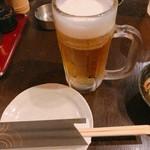 九段下 鳥福 - 生ビール、テーブルセット