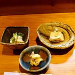 116297797 - 6千円コース:梨の白和え、柿の胡桃和え、胡麻豆腐