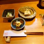 116297872 - 6千円コース:梨の白和え、柿の胡桃和え、胡麻豆腐