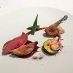 116302461 - 鳩 チェリーソース、季節野菜