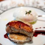 銀座フォワグラ - フォアグラのポワレ キノコの焼きリゾット ポーチドエッグ