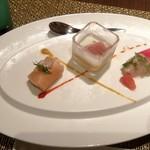 ラ・パランツァ - 本日のお魚のカルパッチョ ・マリネサーモンのカネロニ仕立て ・バターナッツ・スクワッシュのパンナコッタ サンダニエーレ産生ハム添え