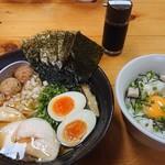 麺屋 一布 - 特製比内地鶏白湯ラーメン+贅沢卵かけご飯。