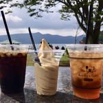 116334362 - アイスダージリンティー&白桃ソフトクリーム&アイスコーヒー