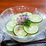 116339691 - 鮑 車海老 素麺 酢立 花穂
