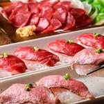 佐賀牛焼肉 上場亭 - ローストビーフ握りと、馬刺し握りも人気!その他、熊本県から直送の馬刺しなどもご用意。
