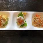 雅苑 - ランチセットの前菜3種