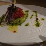 YAKINIKU BISTRO 石鎚 - 低温調理のユッケ肉とアボガドのタルタル※数量限定 1,300円