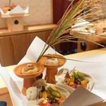 銀座 しのはら - 料理写真:八寸:枝豆、里芋、うずらの卵、サツマイモ、合鴨、トマト、蓮根酢漬け、、イチジク味噌和え