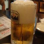 オジャンドン - 生ビールは、半分泡です。お隣の席も私たち5人も・・・ひどい。