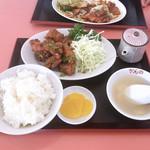 中華料理かんの - 料理写真:鶏のカラ揚げ定食(ネギ塩) ¥700税別