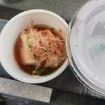 豆腐厨房  - 巾着田 曼珠沙華祭りにて 揚げ出し豆腐 200円 豆乳スムージー(ブルーベリー)300円