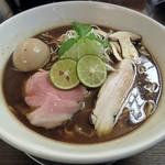 116435253 - 【(限定) 秋刀魚節の芳醇赤味噌そば + 味つき煮玉子】¥900 + ¥100