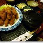 丸忠 - カキフライ+ご飯+味噌汁