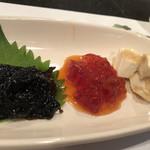 116453103 - 酒菜三点盛り。日本酒に合います!