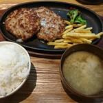 116495976 - あふれる肉汁ハンバーグとAセット