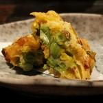 てまひま - 道産とうもろこしと枝豆のかきあげ( ゚Д゚)ウマー