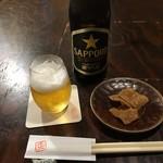 116497384 - 札幌黒ラベル中瓶&蕎麦菓子