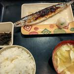 宝山 いわし料理 大松 - 日替わり昼定食(さんま焼き) 500円 + ご飯大盛 50円=550円