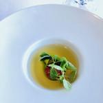 ジャンカルド - 赤くないトマトのスープ。いただくと確かにトマト!美味しい♡