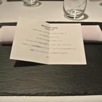 リストランテ カノフィーロ - 2019年9月28日のテーブルセットとメニュー・ディ・セーニャ