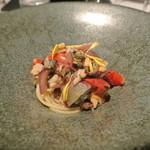 リストランテ カノフィーロ - サンマとトロペア産赤玉葱のアーリオオーリオ スパゲッティ